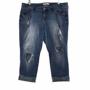 Torrid Denim Cropped Jeans Mid Rise Distressed